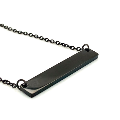 Black Plain Bar Pendant with Cable Chain