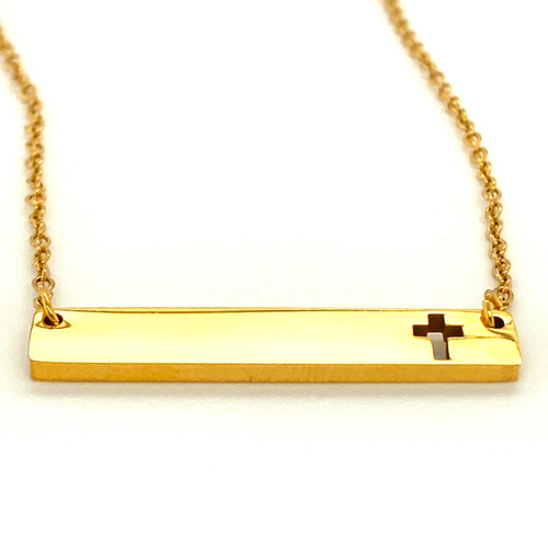 Gold Cross Plain Bar Pendant with Cable Chain