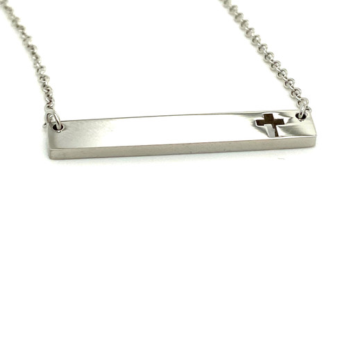 Silver Cross Plain Bar Pendant with Cable Chain