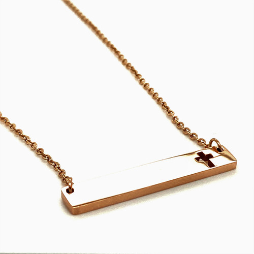 Rose Gold Cross Plain Bar Pendant with Cable Chain