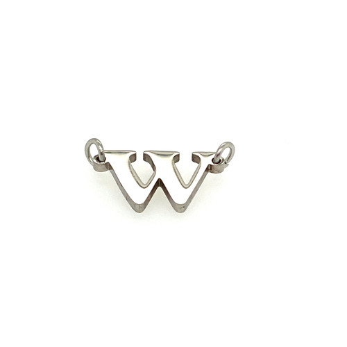 "Stainless Steel Letter ""W"" in Silver"