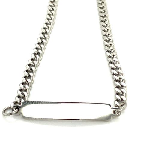 Stainless Steel Silver Plain Bar Bracelet
