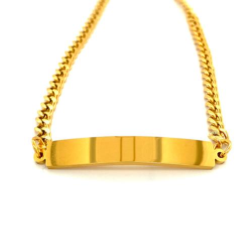 Stainless Steel Gold Plain Bar Bracelet
