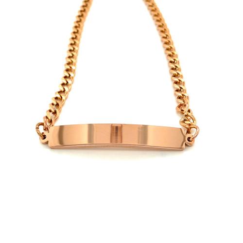 Stainless Steel Rose Gold Plain Bar Bracelet