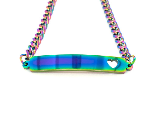 Stainless Steel Rainbow with Heart Bar Bracelet