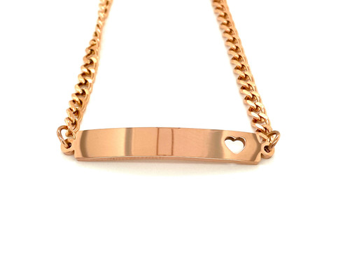 Stainless Steel Rose Gold with Heart Bar Bracelet