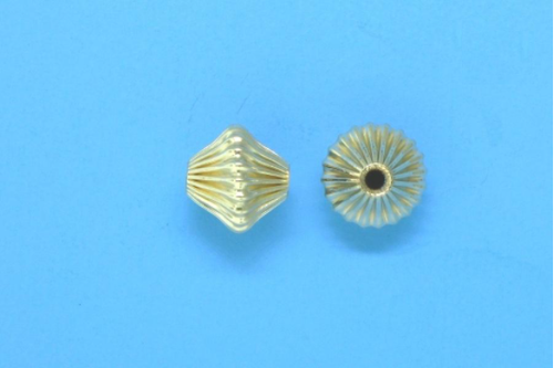 Corrugated Gold Filled Bicone Bead 6mm x 6.5mm