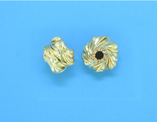 Gold Filled Corrugated Creative Bead 6.6mm x 8.1mm