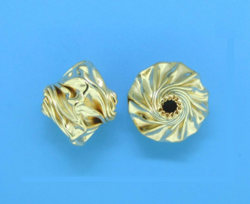 Gold Filled Corrugated Creative Bead 8.6mm x 10mm