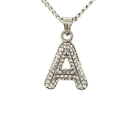 Silver Stainless Steel Bling Letters w/Cable Chain