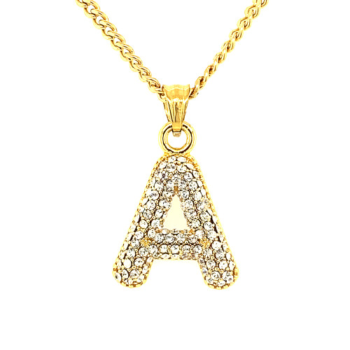 Gold Stainless Steel Bling Letters w/Cable Chain