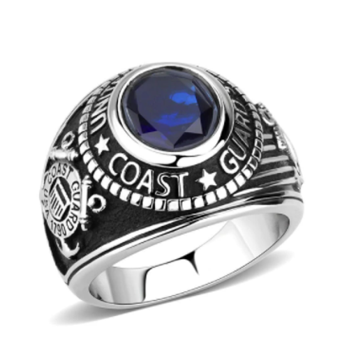 Silver Coast Guard Military Stainless Steel Ring High polished