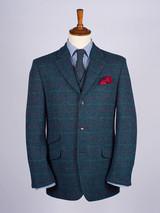 Image of Mens Marine Blue Harris Tweed 2 Piece Suit Jacket