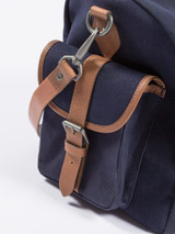 Navy Waxed Canvas & Leather Holdall