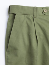 Close Up of Mens Green Pleated Chinos Fabric