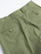 Close Up of Mens Green Pleated Chinos Rear Pocket