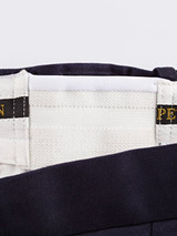Close Up of Mens Navy Blue Flat Front Chinos Expanding Waistband