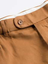 Close Up of Mens Tan Brown Flat Front Chinos Waistband