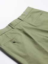 Close Up of Mens Green Flat Front Chinos Pocket Rear Pockets