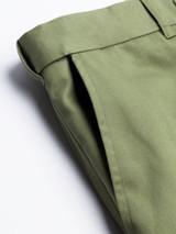 Close Up of Mens Green Flat Front Chinos Pocket Detail