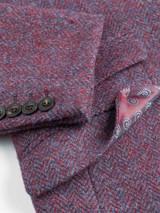 Close Up of Mens Burdock Purple Harris Tweed Details