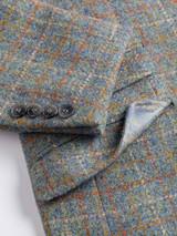 Close Up of Mens Mist Blue Harris Tweed Jacket Cuff Detail