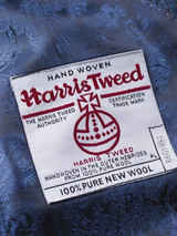 Image of Mens Blue Harris Tweed Jacket Lining & Orb