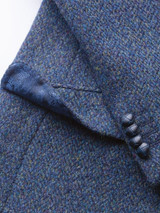 Close Up of Mens Blue Harris Tweed Jacket Cuff Detail