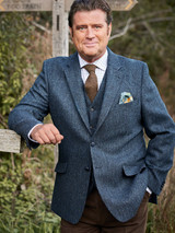 Model Wearing Mens Blue Harris Tweed Jacket