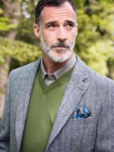 Model Wearing Mens Lovat Harris Tweed Jacket
