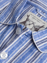Close Up of Mens Cotton Blue Traditional Nightshirt Fabric