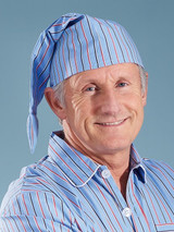Image of Mens Cotton Blue Nightshirt and Cap