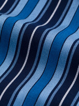 Fabric detail of Navy & Blue Organic Cotton Club Stripe Dressing Gown