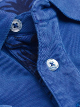 Placket detail Cobalt Washed Polo Shirt