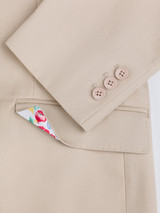 Working button cuff on Stone Chino Suit