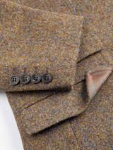 Close Up of Mens Lichen Brown Harris Tweed 2 Piece Suit Jacket Details
