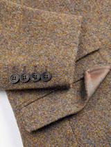 Close Up of Mens Lichen Brown Harris Tweed 3 Piece Suit Jacket Detail