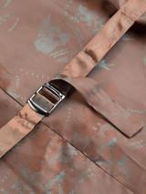 Close Up of Mens Lichen Brown Harris Tweed 3 Piece Suit Vest Lining