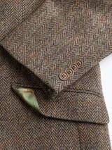 Close Up of Mens Bracken Brown Harris Tweed 2 Piece Suit Jacket Detail