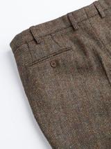 Close Up of Mens Bracken Brown Harris Tweed 2 Piece Suit Pants Fabric