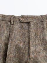 Close Up of Mens Bracken Brown Harris Tweed 2 Piece Suit Pants Detail
