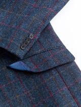 Close Up of Mens Slate Blue Harris Tweed 2 Piece Suit Jacket Detail