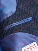 Close Up of Mens Slate Blue Harris Tweed 2 Piece Suit Jacket Lining