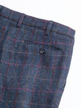 Close Up of Mens Slate Blue Harris Tweed 2 Piece Suit Pants Detail