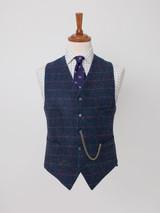 Image of Mens Slate Blue Harris Tweed 3 Piece Suit Vest