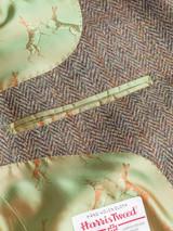 Close Up of Mens Bracken Brown Harris Tweed 3 Piece Suit Jacket Lining