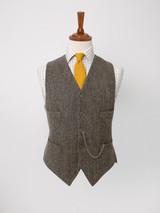 Close Up of Mens Bracken Brown Harris Tweed 3 Piece Suit Vest