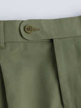 French bearer fly of Green Cotton Tailored Shorts