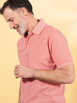 Model Wearing Coral Pink Washed Polo Shirt