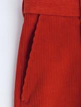 Close up of Mens Orange Corduroy Pants Fabric